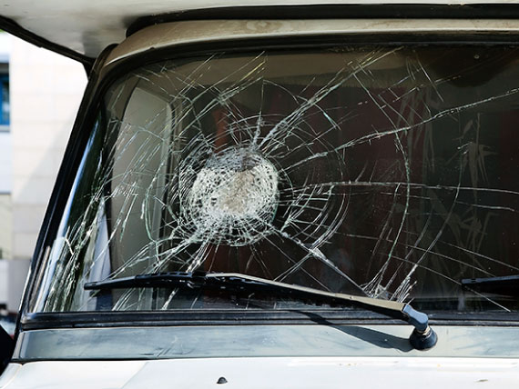 Damaged windshield